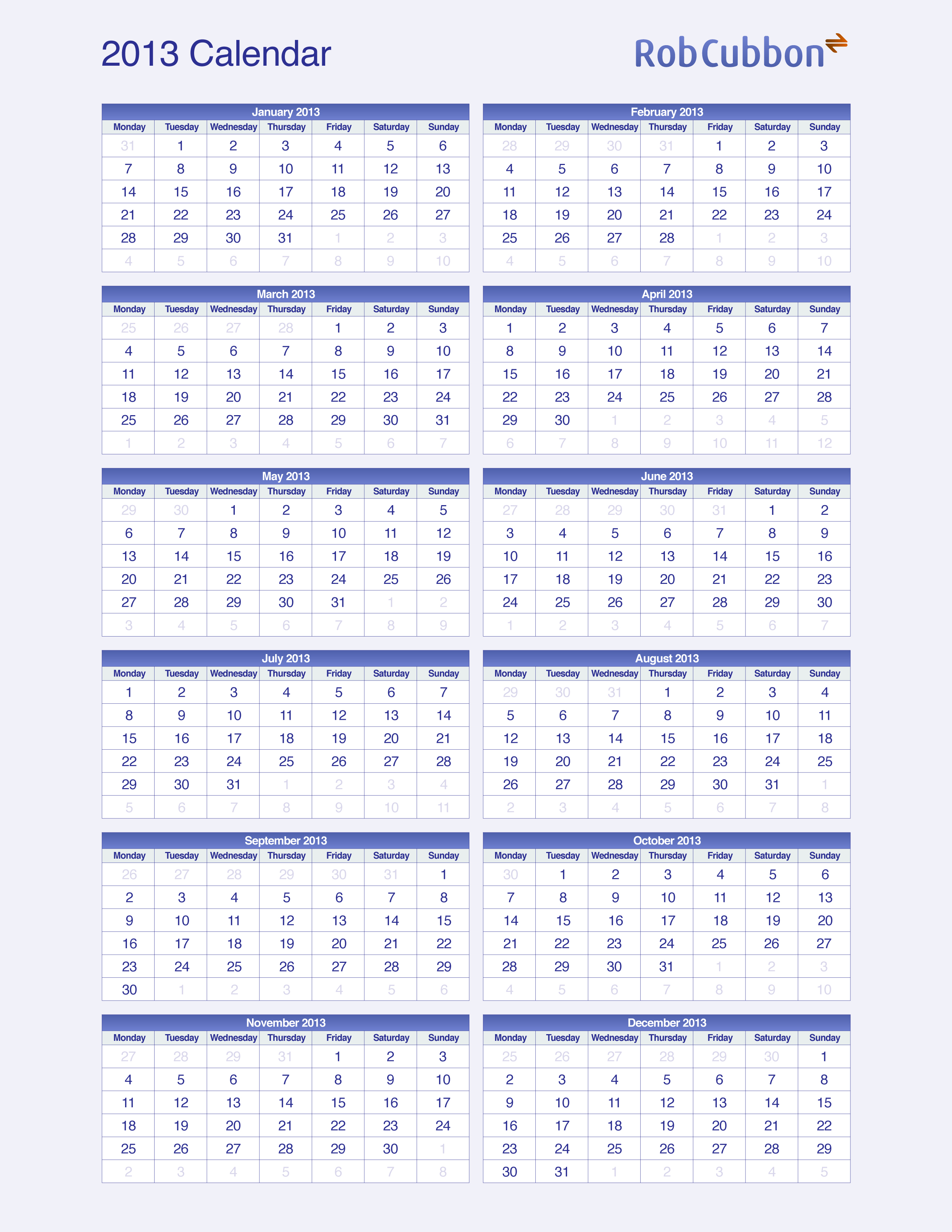 Us paper size of the at a glance 2013 calendar for Day at a glance calendar template