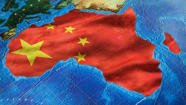 China's flag inside African continent
