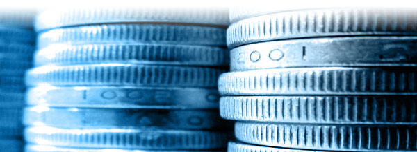 stack of coins in blue