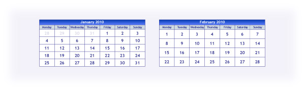 January and February in 2010 in a calendar