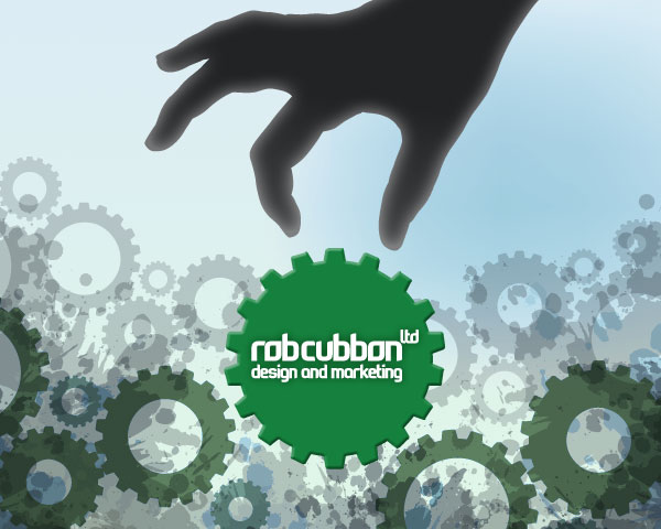 Rob Cubbon Ltd logo in a cog suspended amongst cogs