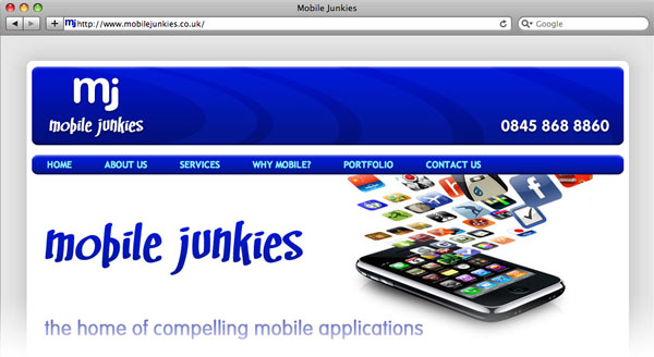 Mobile Junkie's website screenshot