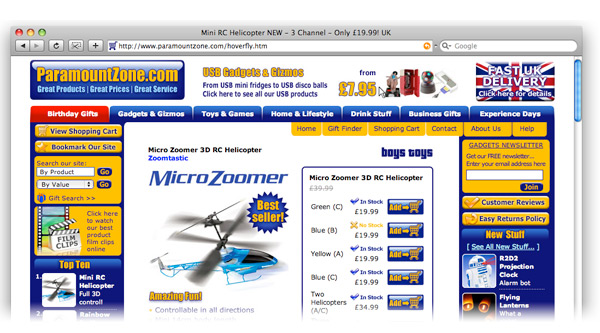 Paramount Zone e-commerce website screenshot