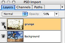 Quark PSD import Layers tab