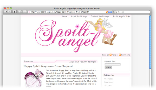 Spoilt angel health and beauty website screenshot