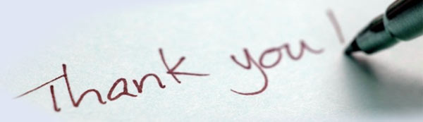 thank you being written on paper