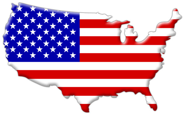 American flag inside country map outline