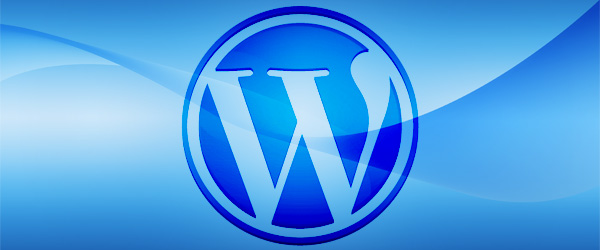 wordpress icon on a blue blackground