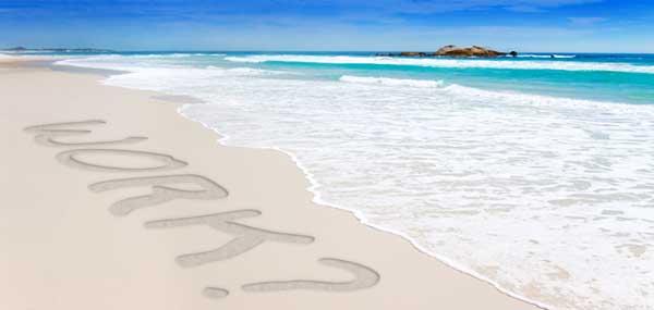 Work? written on a beach