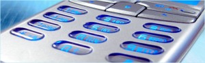 close up of a cell phone keypad