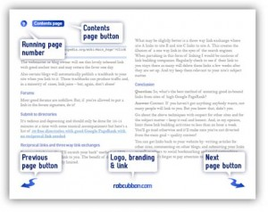 a page of an ebook showing master element in header and footer area