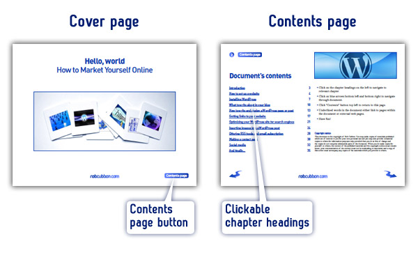 ebook example cover page and contents page