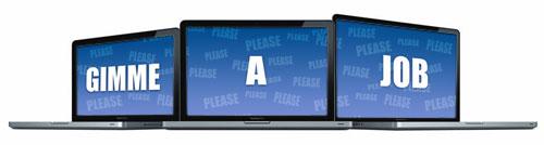 three laptops saying, gimme a job!