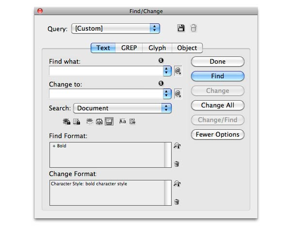 find replace indesign