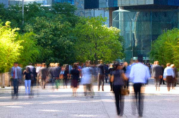 street scene with people walking