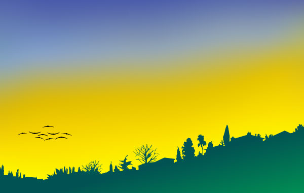 evening landscape with houses and birds