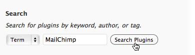 search mailchimp plugin