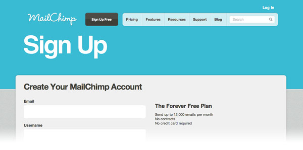 signup to mailchimp