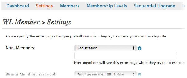 setting error pages wishlist member