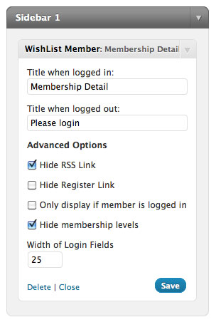 sidebar login widget wishlist member