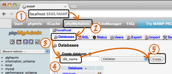 create database phpmyadmin localhost