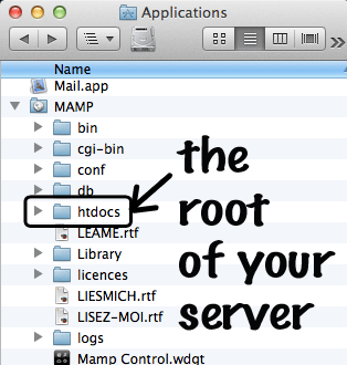 root of mamp server on mac