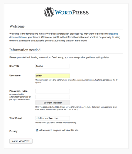 wordpress 5 minute install
