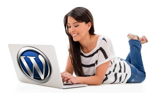 young women blogging with wordpress on a laptop