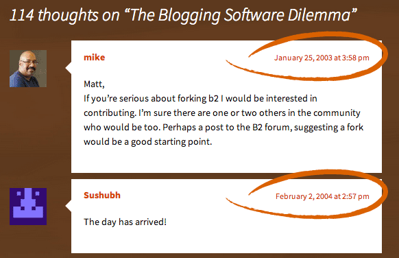 the blogging software dilemma comments