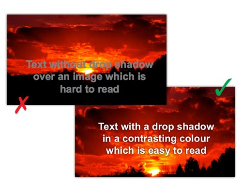 powerpoint-slides showing how to put text over an image