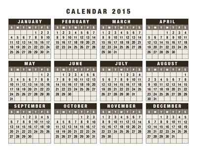 calendar 2015 year-to-a-page sun-start