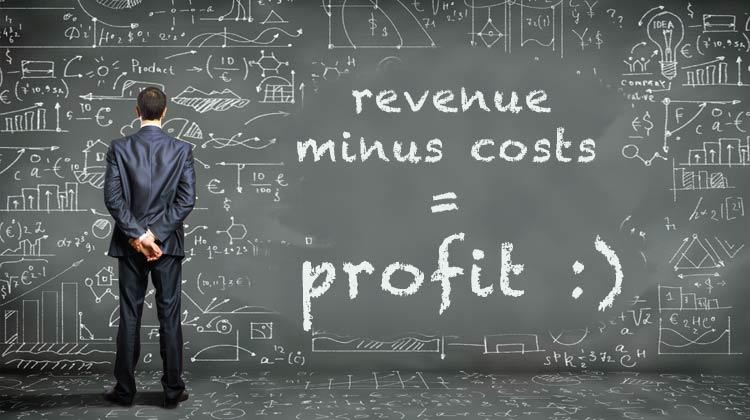 revenue minus costs equals profit