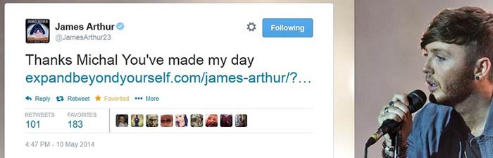 james arthur Michal Stawicki tweet