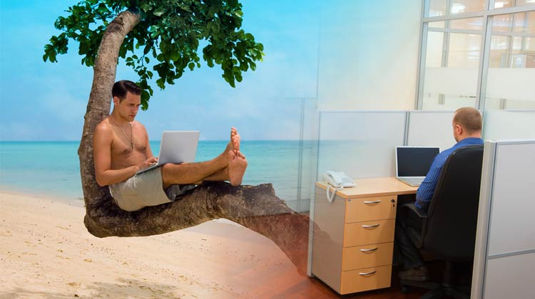 laptop beach cubicle office montage