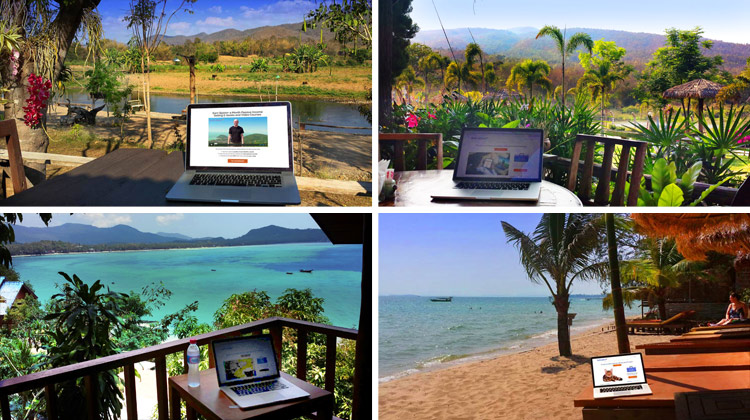 my laptop in 4 exotic locations