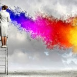 creating ideas for a content marketing strategy by painting on a white wall