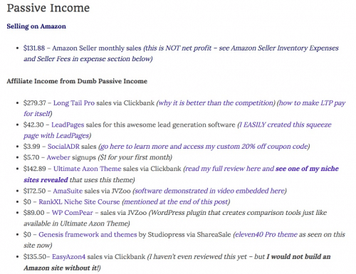 Dumb Passive Income Blog's montly income statement