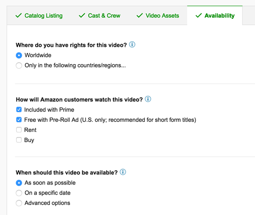 standalone video on amazon video direct free pricing