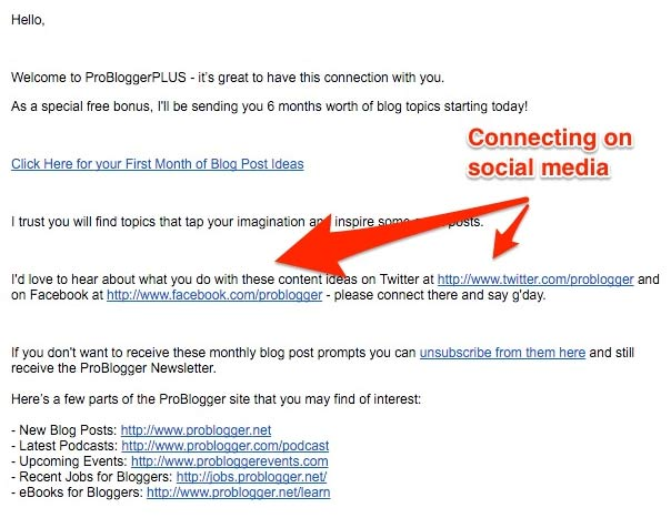 connecting social media welcome email