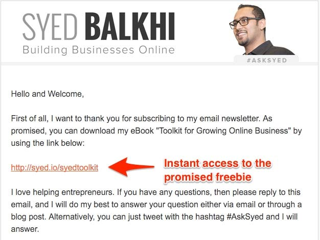 syed balkhi welcome email