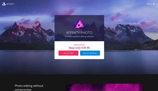 Affinity, a desktop program and a professional alternative to Photoshop.
