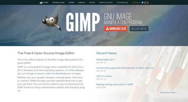 Gimp, a desktop open source alternative to Photoshop
