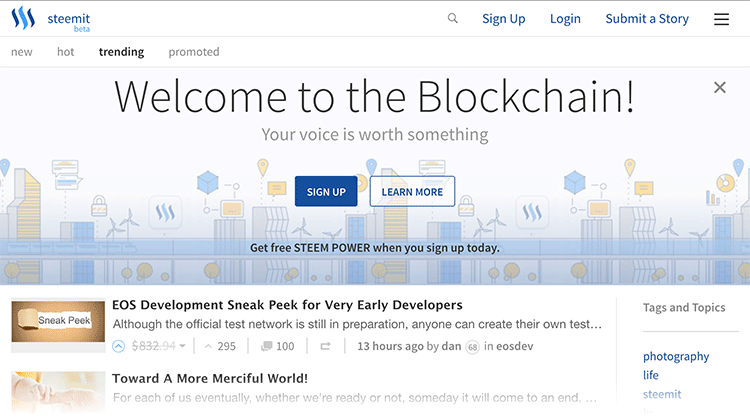 steemit home page not logged in