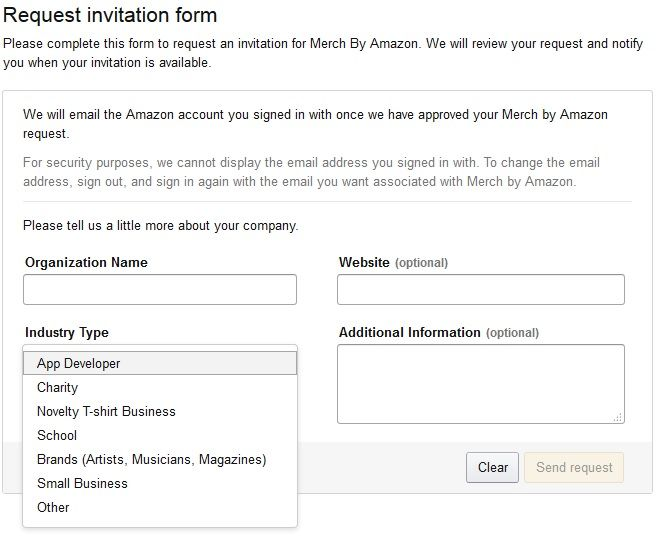 amazon merch request form