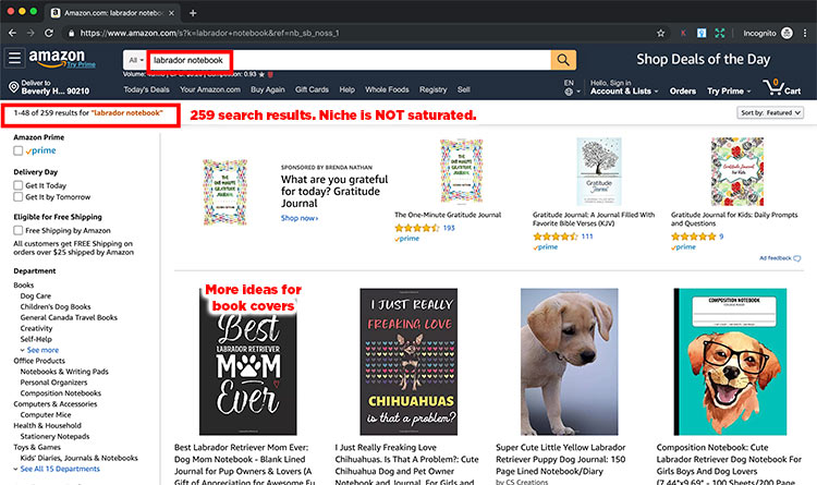 amazon search results for labrador notebooks