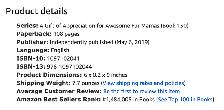 Product details of a paperback in an Amazon product page