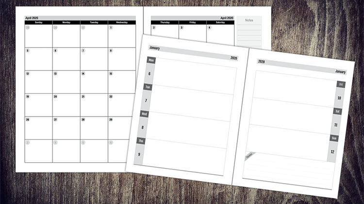 2020 Planners, Diaries, Calendar PDFs with InDesign to Sell on Amazon