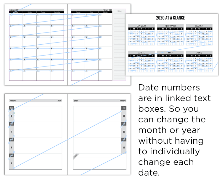 calendars-and-planners-in-indesign-showing-linked-text-boxes
