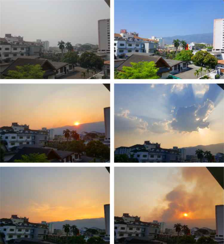 6 views from my balcony showing the changing skies of Chiang Mai in March and April