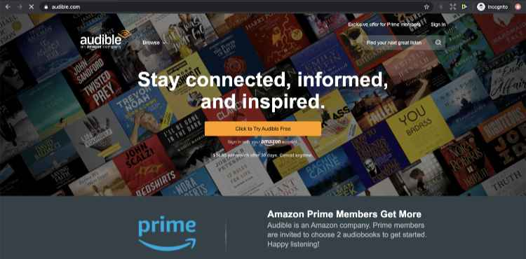 Audible home page sell audiobooks on Amazon